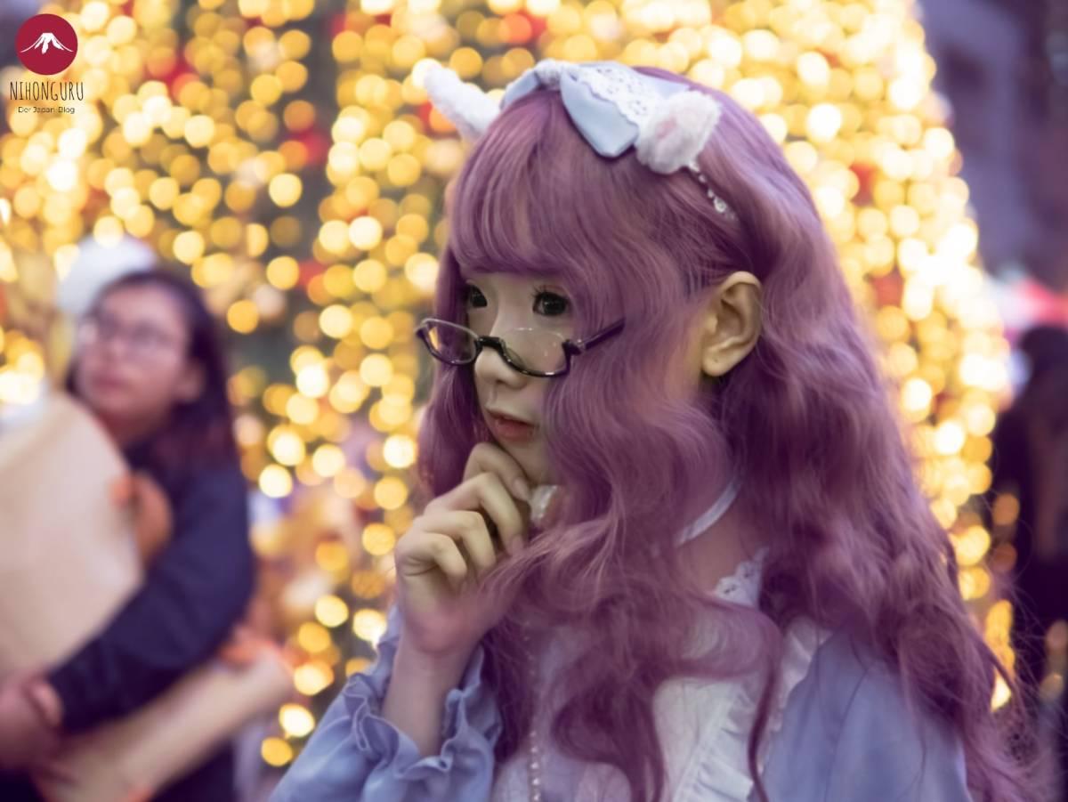 Lolita Mode Japan süß kawaii niedlich Kleid Perücke lila Schleife