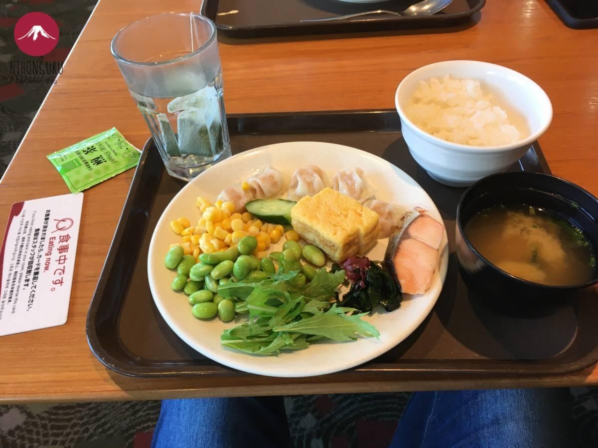 Japanisches Frühstück Reis Misosuppe Edamame Gyoza