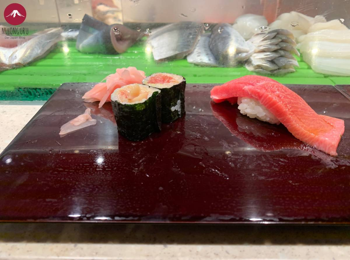 Sushi Daiwa Toyosu Fischmarkt Maki Nigiri Ingwer Fisch roh