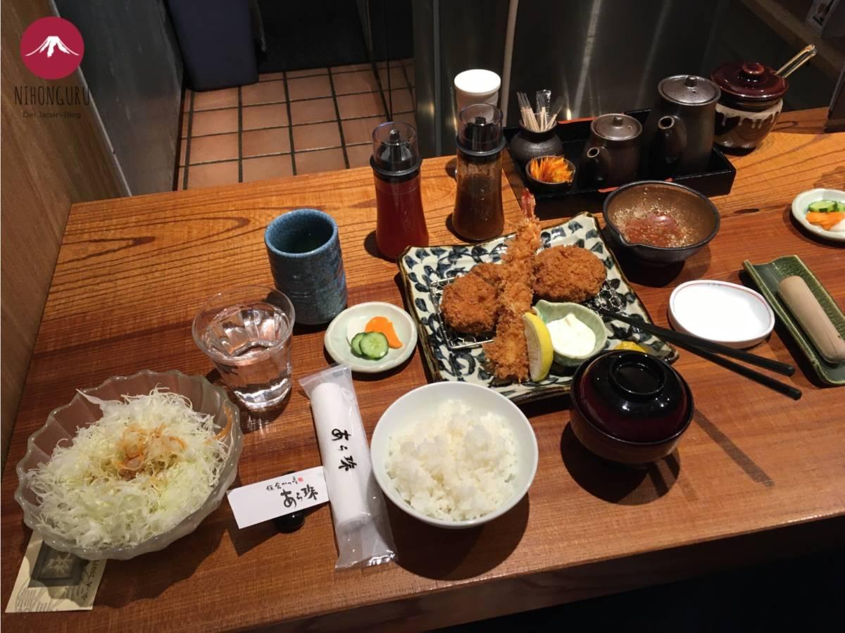 Tonkatsu Krautsalat Reis Fisch Ebi Sauce Soße