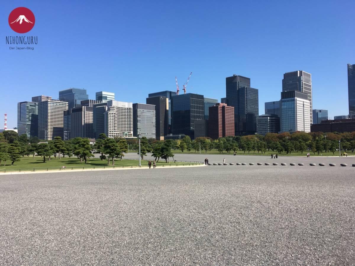 Vorplatz Kaiserpalast Tokio Asphalt Hochhäuser