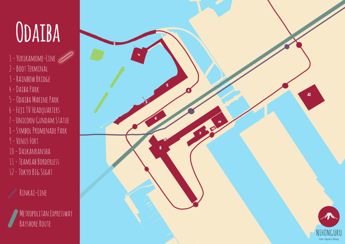 Karte Odaiba Highlights Linie Stationen Tokio Insel