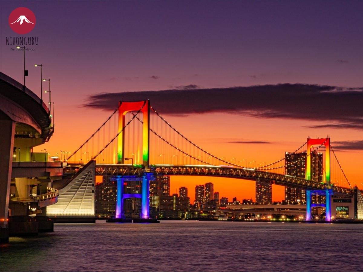 Rainbow Bridge Brücke Tokio Farben Sonnenuntergng