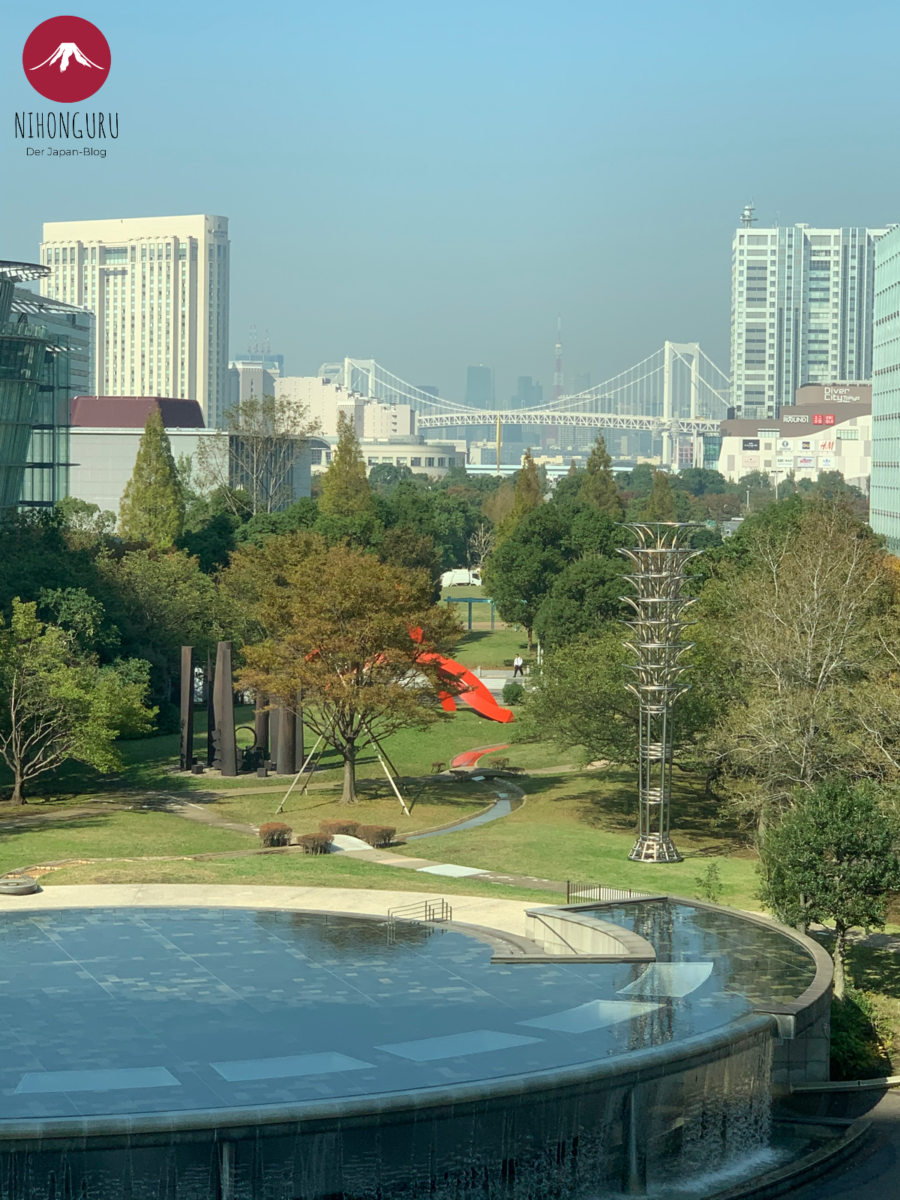 Symbol Promenade Park Odaiba Kunst Wasserfall Plaza Rainbow Bridge Tokyo Tower